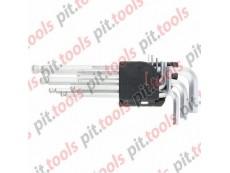 Набор ключей имбусовых HEX, 1,5–10 мм, CrV, 9 шт., удлиненные, сатин., с шаром (MATRIX)