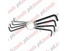 Набор ключей имбусовых TORX 9шт:T10,15,20,25,27,30,40,45,50, оксидированные, на кольце (SPARTA)