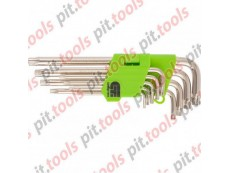 Набор ключей имбусовых Tamper-Torx, 9 шт: TTT10-T50, 45x, закаленные, удлиненные, никель. (Сибртех)