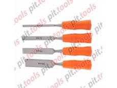 Набор стамесок 4 шт, 6-12-18-24 мм, плоские, пластиковые ударные рукоятки (SPARTA)