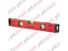 Уровень алюминиевый магнитный, 400 мм, фрезерованный, 3 глазка (1 зеркальный), усиленный (MATRIX)