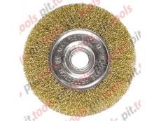 Щетка для УШМ, 200 мм, посадка 22,2 мм, плоская, латунированная витая проволока (MATRIX)