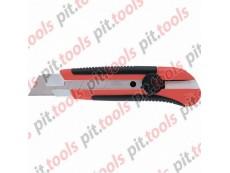 Нож, 25 мм, выдвиж. лезвие, метал. направляющая, двухкомп. корпус, винт.фиксатор, с магнитом (MATRIX)