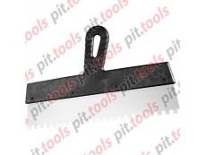 Шпатель из нержавеющей стали, 200 мм, зуб 6х6 мм, пластмассовая ручка (СИБРТЕХ)